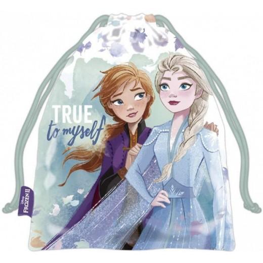 Bolsa saco de Frozen 26cm para almuerzo guardería y merienda Elsa y anna azul