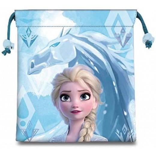 Bolsa saco de Frozen 22cm para almuerzo guardería colegio y merienda Elsa azul