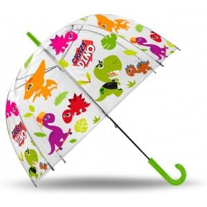 Paraguas de Crazy Dino infantil transparente dinosaurios 48 cm Verde