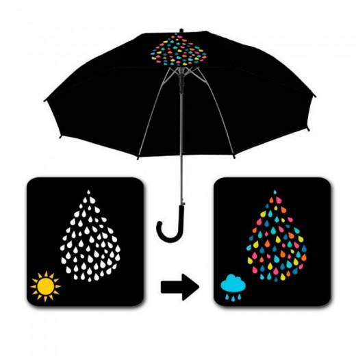 Paraguas Magico cambio de color adulto negro con gotas automático 58 cm