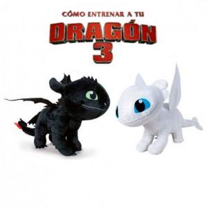 Peluche de Como entrenar a mi Dragon 3 Furia dentada y furia luminosa 2 peluches