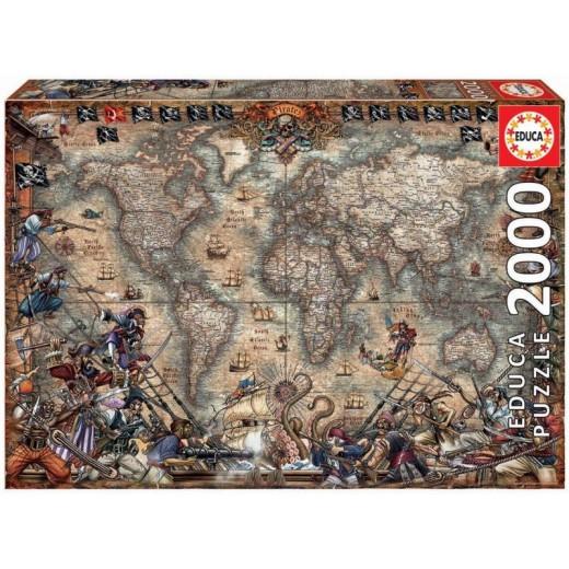 Puzzle Mapa mundo de los piratas de 2000 piezas Grande Mapa del tesoro