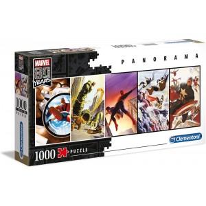 Puzzle de los personajes de Marvel panorámico de 1000 piezas 80 anivesario