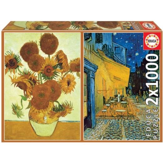 Puzzle Doble de 1000 piezas cada uno Los girasoles y terraza café noche Van Gogh