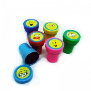 Sellos de emoticonos emojis sello con caritas 6 unidades scrapbooking tinta roja