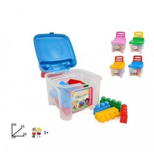 Silla baúl infantil con bloques de construcción de colores guarda juguetes niños