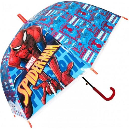 Paraguas Spiderman Grande Cúpula Automático azul y rojo 45cm infantil grande