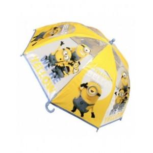 Paraguras transparente de los Minions 45 cm infantil amarillo para lluvia