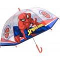 Paraguas Spiderman Grande Automático transparente azul y rojo 45cm infantil
