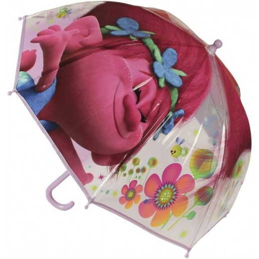 Paraguas grande trolls transparante y rosa infantil poppy Manual de 63 cm