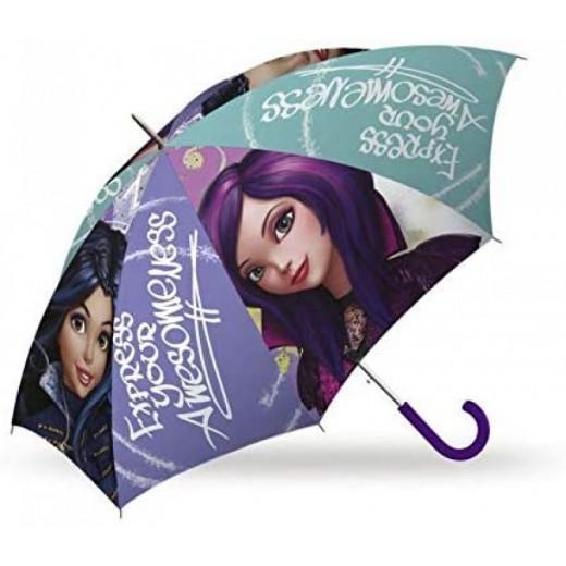 Paraguas infantil pequeño de las Descendientes morado 41 cm Evie y Mal dibujos