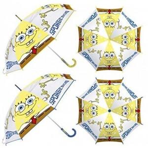 Paraguas de Bob Esponja infantil transparente manual con mango 46 cm