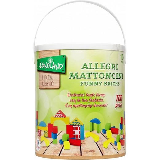 Cubo 100 piezas de construcción de madera de colores para niños educativo