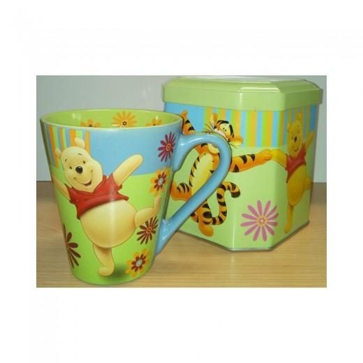 Taza desayuno de Winnie the Pooh colorida en caja metálica tazón cerámica