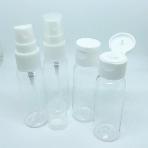 Set 4 botellas para viaje botes de plastico rellenables de avión spray envases