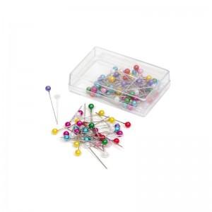 Caja de alfileres de perla de colores alfiler con bolita de color 25 unidades