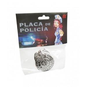 Placa de policia juguete metálica con imperdible disfraz carnaval policías swat