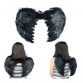 Alas de plumas negras de diablo para carnaval con tirantes negro