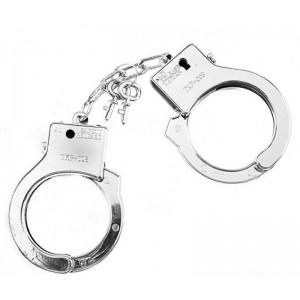 Esposas de juguete con llave plateadas esposas policia Disfraces broma despedida