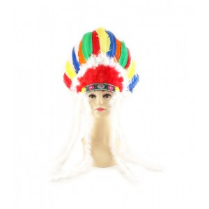 Tocado jefe indio cabellera de indio diadema de plumas de colores india disfraz