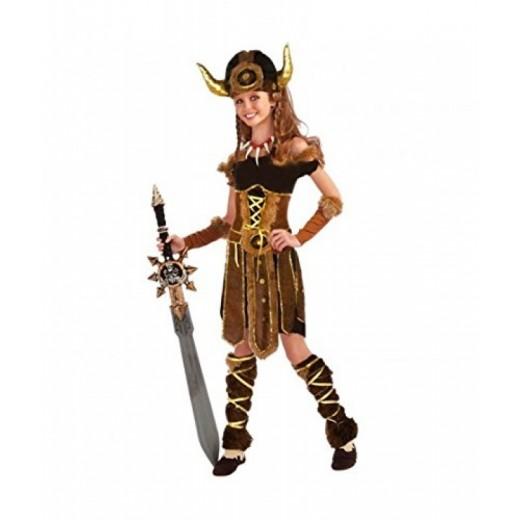 Disfraz de Vikinga niña traje de salvaje con pieles infantil Carnaval