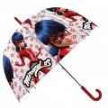 Paraguas de LadyBug Prodigiosa de dibujos animados transparente tikki rojo