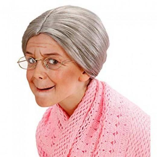Peluca de anciana pelo recogida de abuela color gris brillante pelo disfraz moño