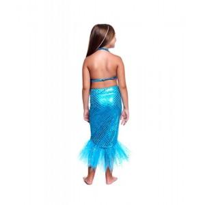 Disfraz de Sirena vestido y cola de sirenita con top y cola de pez azul carnaval