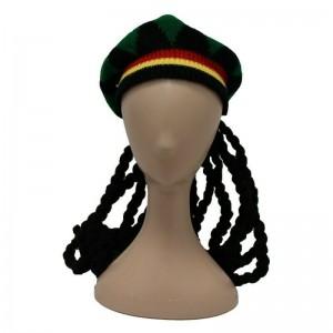 Peluca con gorro de bob Marley Rastafari con rastas y simbolo marihuana disfraz